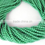 "5 Strands Lime Green Glass Pearl 4.5mm Smooth Rondelle Beads,Acrylic Pearl beads,Jewelry Beads,Pearlized Beads,16"" Long"