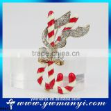 Lux Accessories Fashion Jewelry Candy Cane Heart Bow Xmas Christmas Pin Brooch B0476