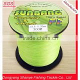 Zhejiang Wholesale Outdoor Fishing Tackle Japan 100% PE Spectra Fishing Braid Line 4 Strands 20lb SUNBANG Colored Fluo Green