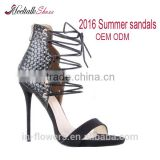 High quality women sandals heel lace up 2016 summer genuine leather lace up sandal heels