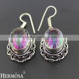 925 Sterling Silver Vintage Jewelry Fire Rainbow Mystic Topaz Gemstone Hook Earring
