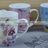 11OZ colorful bird full decal print coffee cups, shiny surface new bone china mug, KL5004-A408