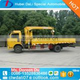 6 wheels EuroIII 95 HP engine small truck crane 3.5 T three straight extended arm for sale
