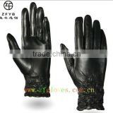 Fashion Women Black Tight Lamb Leather gloves