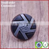 Custom black gray metal shank suit pants buttons