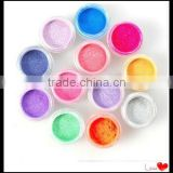 12 Rainbow Color Pearl Glitter Fine Powder Nail Art Decoration Tips Design Dust HN1291
