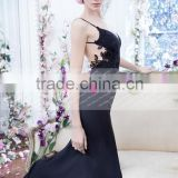 Sexy Spaghetti Straps Black Backless Bridesmaid Dress Maid Of Honor Dress ZY564