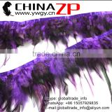 ZPDECOR Factory Wholesale Cheap Cock Plume Fringe Directly Dyed Purple Rooster Saddle Feathers Trims for Dress