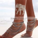 Beach barefoot sandals multilayer water drop anklets