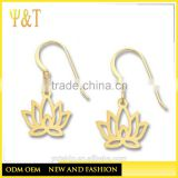 Jingli Jewelry top quality religious symbol lotus jewelry, gold color dangle lotus earrings (YZ-016)