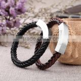 Two tone leather bracelets magnetic personalized braided leather bracelets with stainless steel clasp
