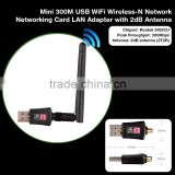 new design Mini 300M USB WiFi Wireless-N Network Networking Card with 2db/5dB Antenna LAN card Adapter