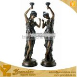 cast bronze lady sculpture lamp statue for sale