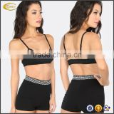 Ecoach Wholesale OEM Women Sexy Fitness Yoga Wear Thin Straps Mesh Sports Bra and Shorts Workout Running Sportswear Clothing Set