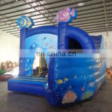 hot sale commercial sea world inflatable combo with curve slide