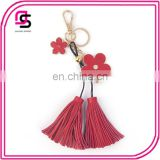 Creative Pendant Five Petal Flower PU Leather Fringed Keychain Bag Pendant Ornaments