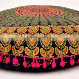 "Indian Round Cushion Cover Meditation Pillow Case Cushion Cover Ottoman Pouf Cover 32"" Cushion Cover"