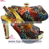 Lady's shoe and matching bag/Italian wedding high heel shoe bag set/african shoe and bag