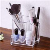 Acrylic Makeup Organizer Cosmetic Brushes Set Holder Cotton Swab Lipstick Box 3 Lattice