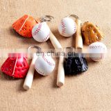 custom baseball batting gloves keychain sport baseball key chains With Bat and Gloves baseball batting gloves keychain
