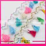 4.5cm width cotton mixed color tassel fringe lace trim for garment