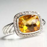 Sterling Silver Jewelry 8x10mm Citrine Noblesse Ring(R-038)
