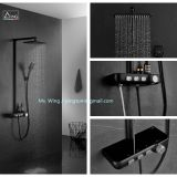 popular black duable metal cover PPA water way thermostatic shower sets rainfall shower system