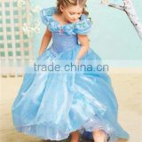 2015 new cinderella dress blue Ella 's princess dress Costume butterfly girl dress