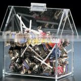 hot sale clear house shaped acrylic lollipop/candy bin with flip top roof personalized acrylic candy gift packaging box