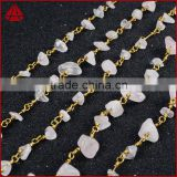 Gold Plated Or Silver Plated Natural Rose Quartz Stone Chips Beaded Chains Roll