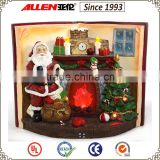 "8.4"" led fireplace with Santa resin sculpture for Christmas decoration, Christmas fireplace scene"