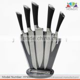 Shape hoof spray rubber plastic hollow handle 5 pcs kitchen knife set in novel acrylic block