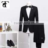 Wholesale French Wedding Trim Generous Luxury Brief Simple Notch Lapel Bright Black Suits For Men Fitted Exquisite Slick