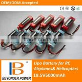 Strong power rc airplane and helicopter lipo batteries, 18.5V5000mah assembly by 3.7V rechargeable battery