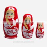 3PCS Hand Painted Cute Wooden Russian Nesting Dolls Dried Basswood Red Gift Matryoshka Ethnic Doll
