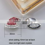 (M0847-10mm inner bar) 20*16mm cap buckle with slider suit for 10mm ribbon, silver plating,clear and light siam crystals