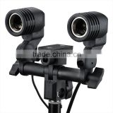 Dual-Head Twin Bulb Holder E27 Socket Adapter Umbrella Bracket Photo Flash Light