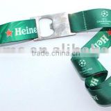 Custom heat transfer print bottle opener lanyard strap