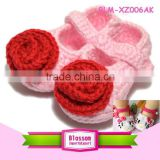 Princess girls pink with red flower handmade design wool crochet shoes