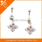 BR01692 stainless steel crystal fake belly button ring