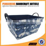 Trapezoid blue color print polyester material storage boxes