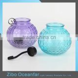 Colored Embossed Large Glass Jars Lantern Wholesale Hanging Glass Ball Candle Holder