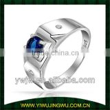 Blue Sapphire Color Round solitaire CZ Mens Engagement Ring 925 Silver