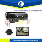 3 in1 rear view car adhesive dashboard camera mount with 2 parking sensor / reversing camera with parking sensor