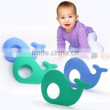 OEM ODM accept food grade New silicone whale shape baby teether,teething pendant baby toy