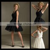 Fashion Black White Halter Lace Model Bow Bridesmaids Dresses Halter Neck Pretty Bridesmaid Dress bm00024