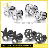 Hot sale round double side stainless steel black star shaped studs and boys earrings for boys(HE-015)