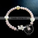 silver flower heart leaf charm summer ice pink faceted glass beads fashion women wiring bangle bracelet 6490037