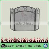 Fireplace accessories 3 panels morden folding fire screen with black powder coating FS64B#