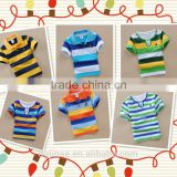 The new fashion children t-shirts cotton wholesale colorful strip boys short sleeve polo t shirt for kids